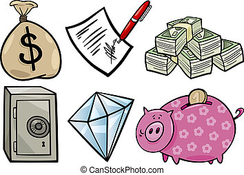 valuable objects cartoon illustration set - Cartoon...