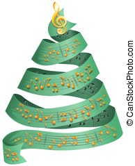 Christmas tree with music dots - Christmas tree from ribbon...