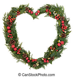 Heart Shaped Christmas Wreath - Christmas heart wreath with...