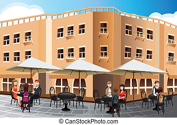 People enjoying coffee outside of a cafe - A vector...