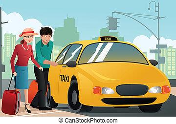 pareja, vacaciones, vocación, taxi