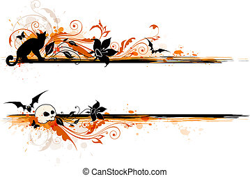 Halloween banner - Vector scary Halloween banner with black...