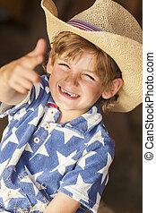 Happy Blond Boy Child Cowboy Hat Star Shirt - Young happy...