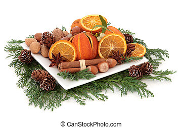 Christmas Food - Christmas food arrangement with dried...