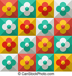 Background with abstract flowers in flat style
