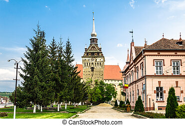 The evangelical church of Saschiz village, Romania -...