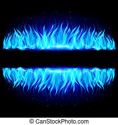 Two walls of blue fire on black.