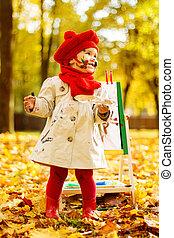 發展, 畫架, 概念, 創造性, 秋天, 孩子, 孩子, 圖畫, 公園