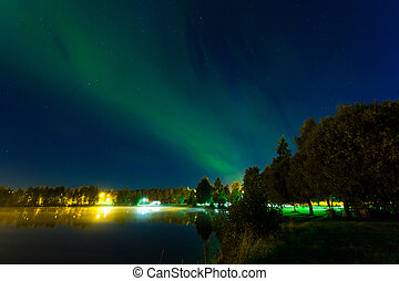 Northern lights in the middle of the night