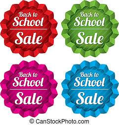 Back to school sale tags. Special offer stickers.