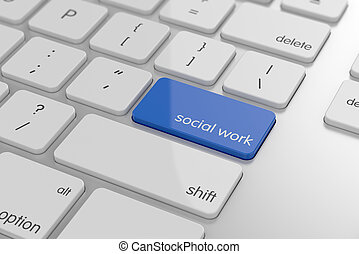 Social work button on keyboard with soft focus