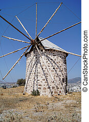 Bo - Aegean style old mills in Bodrum, Turkey