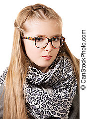 fashion optics - Portrait of a beautiful ten years girl in...