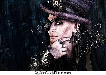 gothic steampunk - Portrait of a steampunk man over grunge...