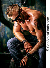 muscular man - Portrait of a handsome muscular man in the...