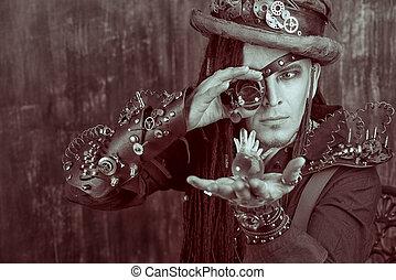 steampunks man - Portrait of a steampunk man over grunge...