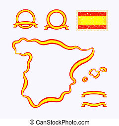 Colors of Spain - Outline map of Spain. Border is marked...