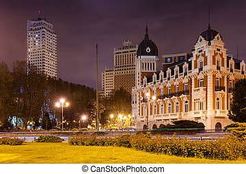 Night view of Spain Square in Madrid,= - Night view of Spain...