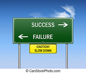 road to success - Road sign showing ways to success and...