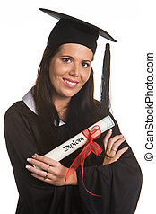 Young woman graduated with a Diploma - woman graduated with...