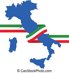 "ribbon italy - illustration of italy shape with ""tricolore""..."