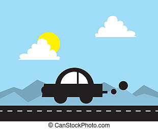 Car Silhouette Driving - Car silhouette driving down the...