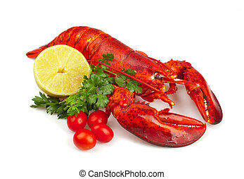 Red lobster with lemon and parsley on white background