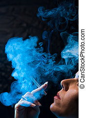 Smoking woman with a cigare - A smoking woman with a...