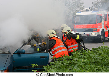 Accident - Exercise of rescue and fire in car accident