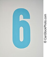 Numerical - Number six painted in blue on a wall