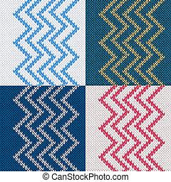 Set of Seamless Knitted Pattern. Knit Texture, Beautiful Fabric