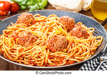 Pasta and Meatballs - Pasta with meatballs and meat sauce...