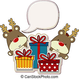baby reindeer and gift boxes