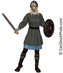 Viking or Anglo-Saxon Shield Maiden with chain mail armour,...
