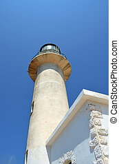lighthouse - Bottom view of lighthouse over clear blue sky.