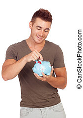 Young man with a money box isolated on a white background