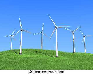 white wind turbines - A white wind turbines against the sky