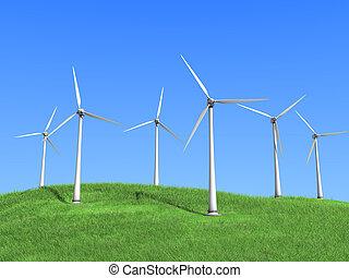 white wind turbines - A white wind turbines against the sky