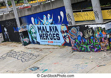 Graffiti street art in Malaysia - Graffiti street art along...