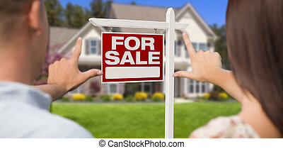 For Sale Sign, House and Military Couple Framing Hands - For...