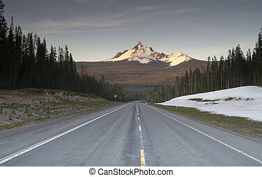 Highway and Forested area around Mt. Thielsen north of Crater Lake