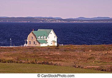 House by the Gulf of St Lawrence near Perce, Gaspesie,...