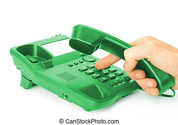 red phone - finger presses the button on green phone