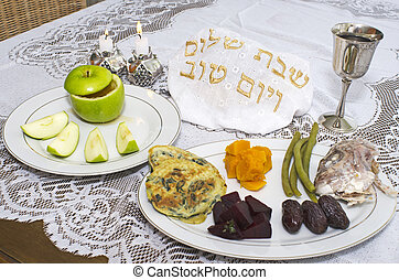 Rosh Hashanah Jewish Holiday Seder Table - Jewish New Year -...