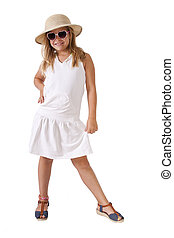 girl with hat full body isolated