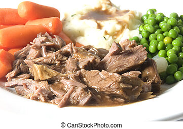 pot roast dinner mashed potatoes carrots green peas - pot...