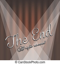 the end label over beige background vector illustration