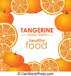 tangerine citrus fruit over white background vector...