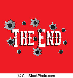 the end label over red background vector illustration