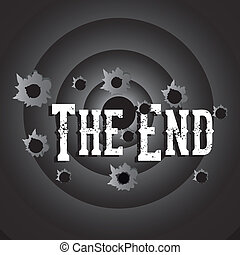 the end label over black background vector illustration